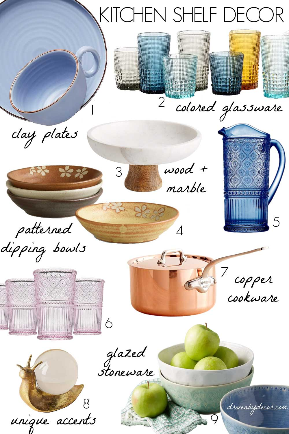 Kitchen shelf decor - colored glassware, clay plates, and copper cookware are trending!
