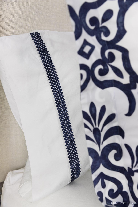 Gorgeous navy embroidered edge pillowcases