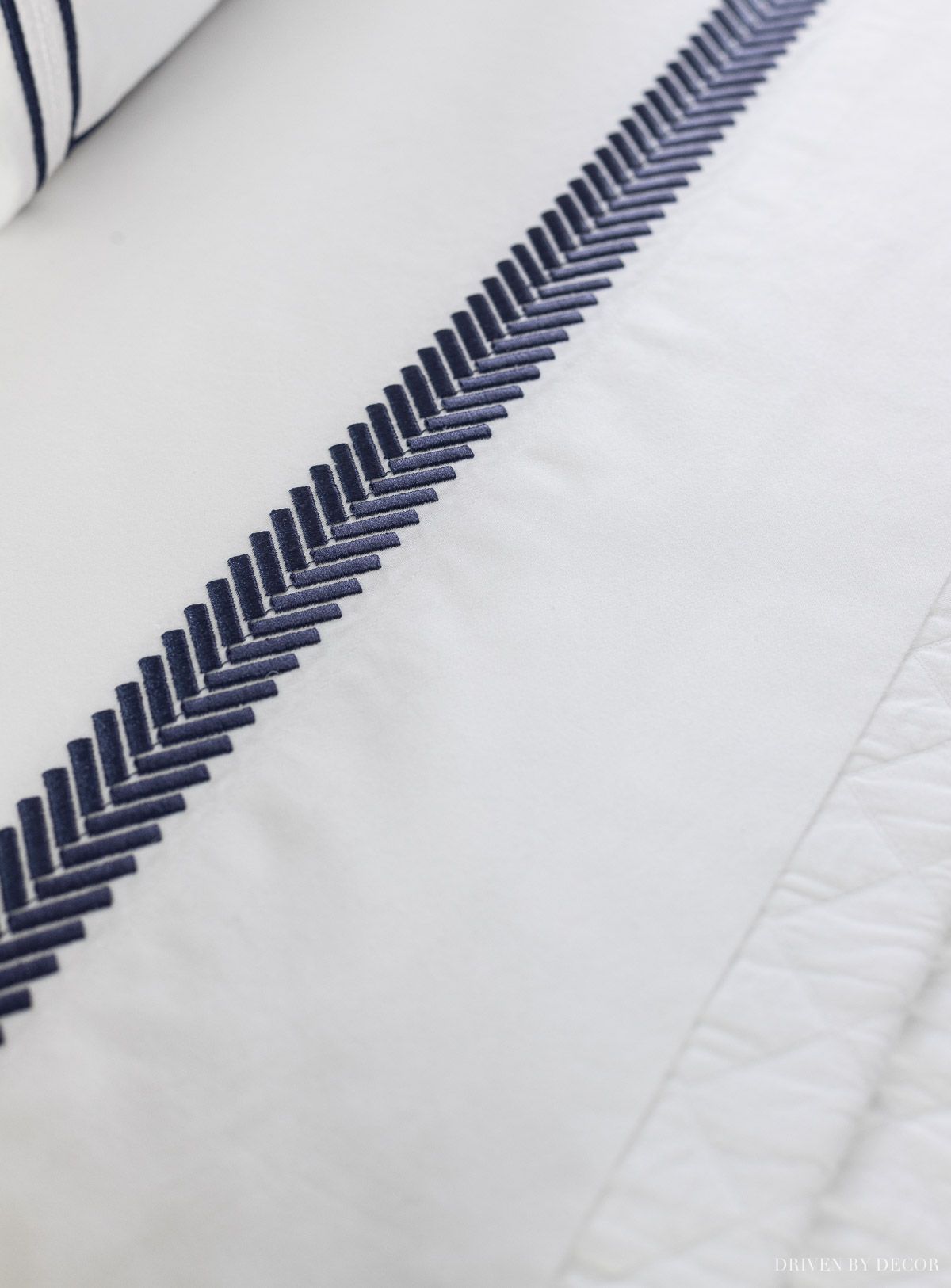 Gorgeous navy embroidered sheet set!