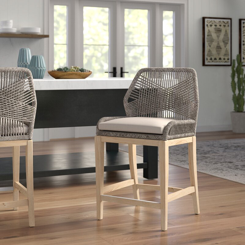 This counter stool has the most gorgeous loom design!
