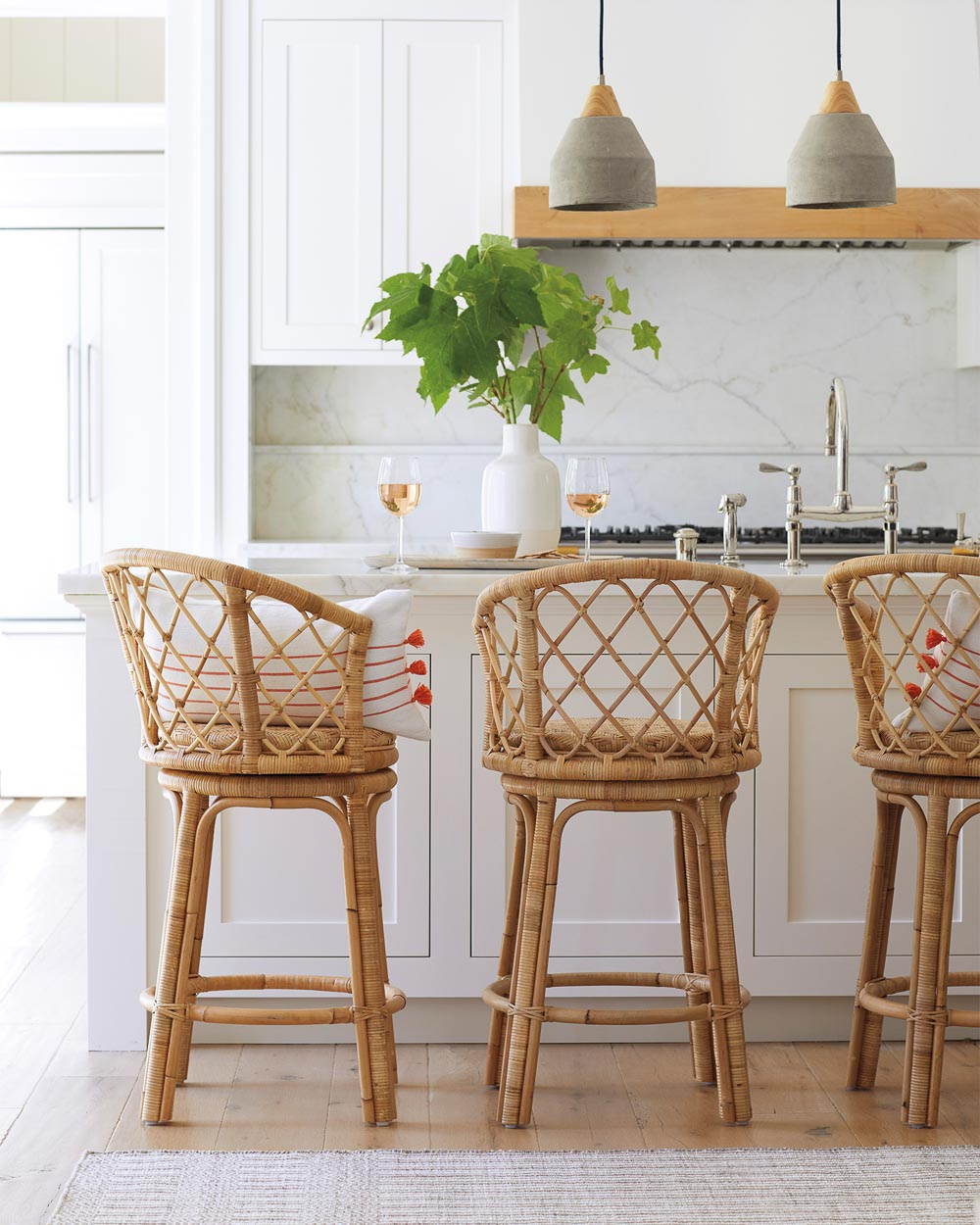 Gorgeous natural rattan swivel counter stools - love how gorgeous they look from all angles!