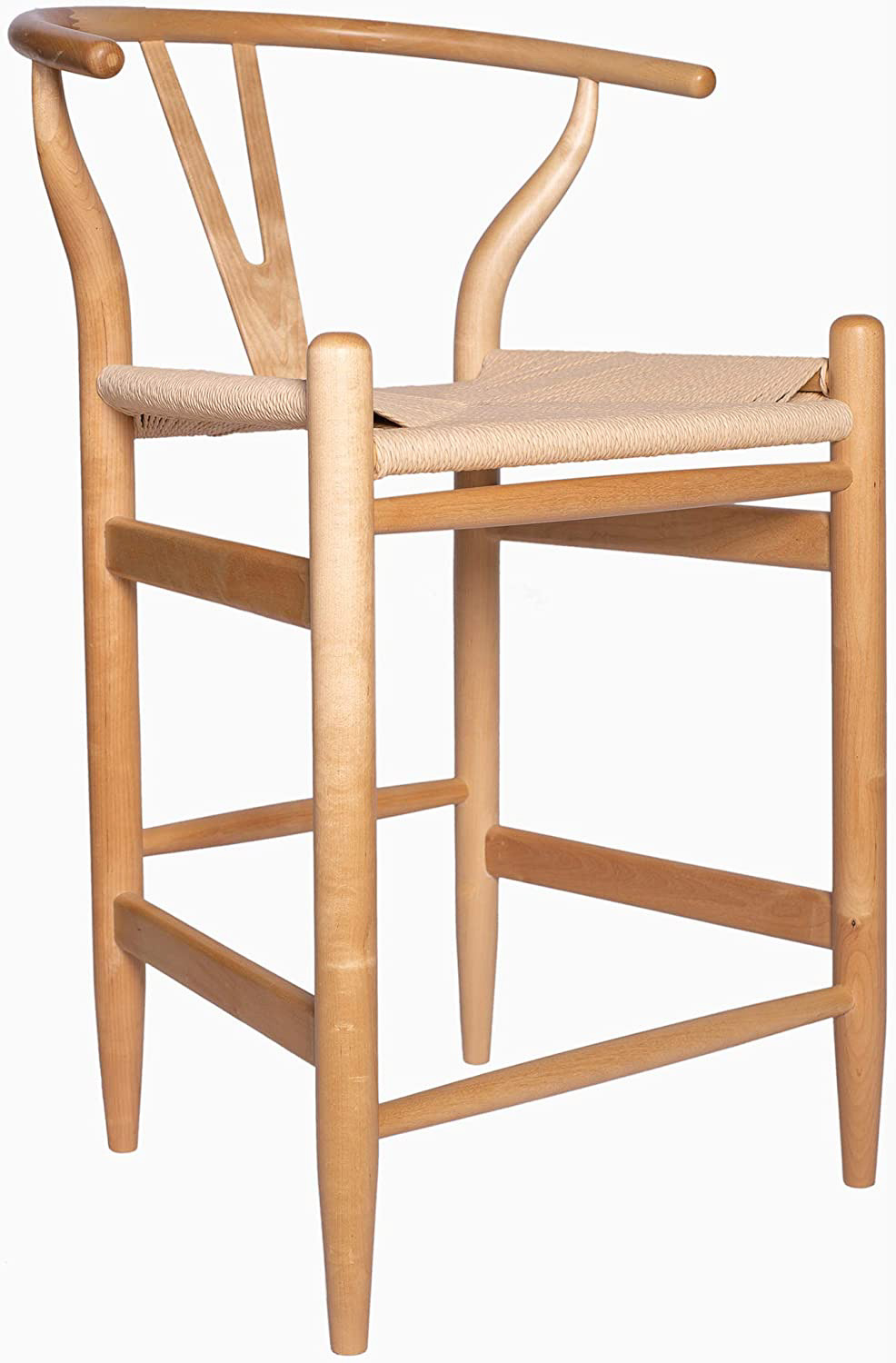 This natural wishbone counter stool would work well with almost any style of kitchen!
