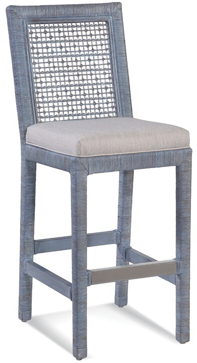 This rattan counter stool comes in a ton of gorgeous frame colors and upholstered cushion options!