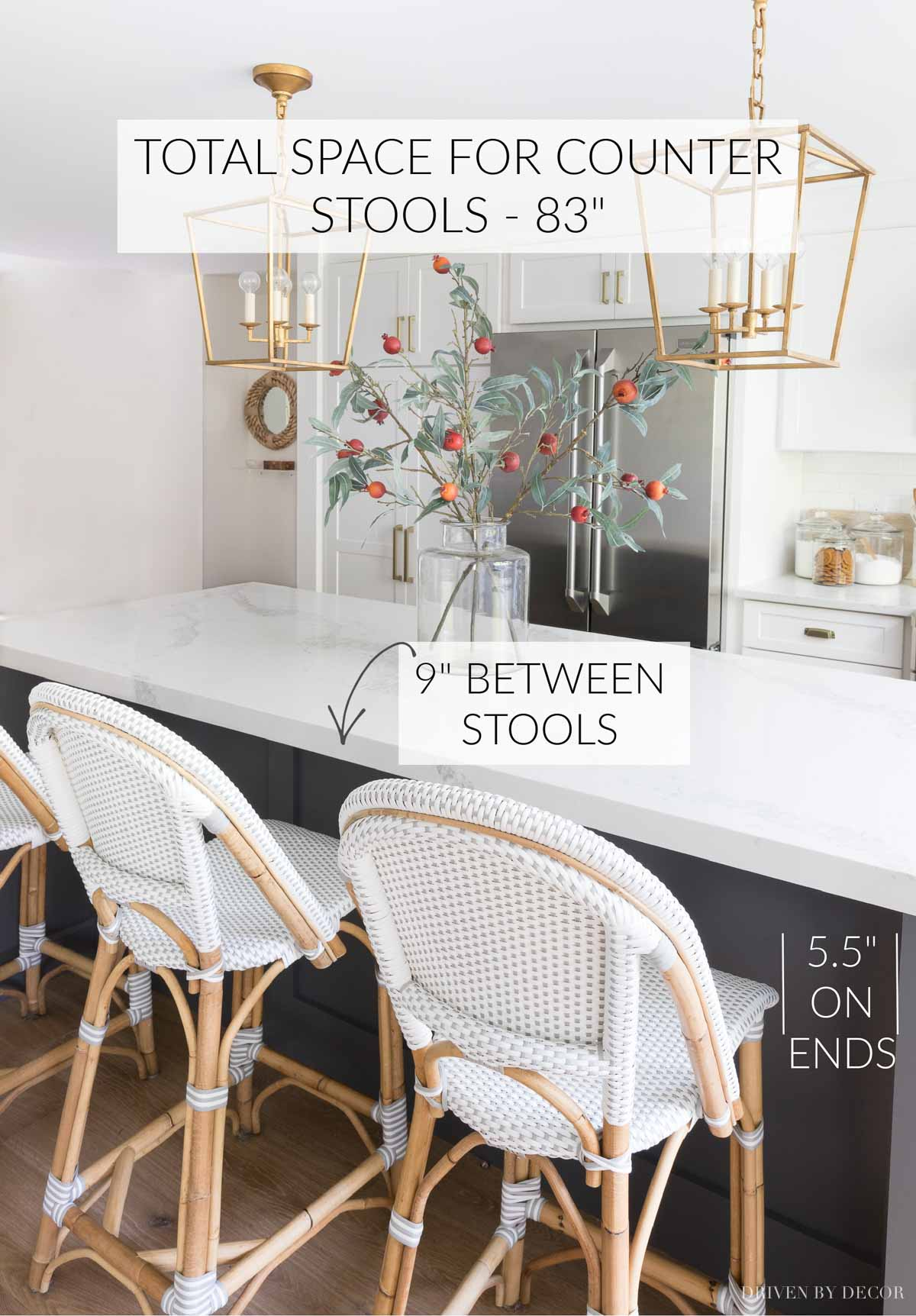 Helpful info on how much space to allow between your counter stools!