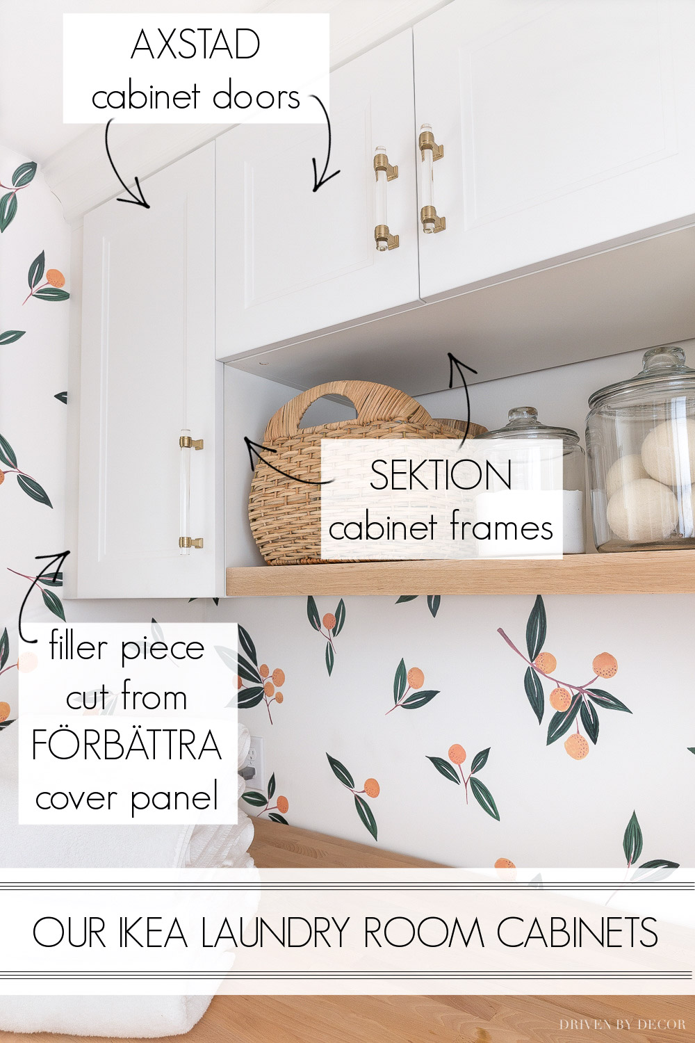 The Ikea products we used for laundry room storage! A great inexpensive solution!