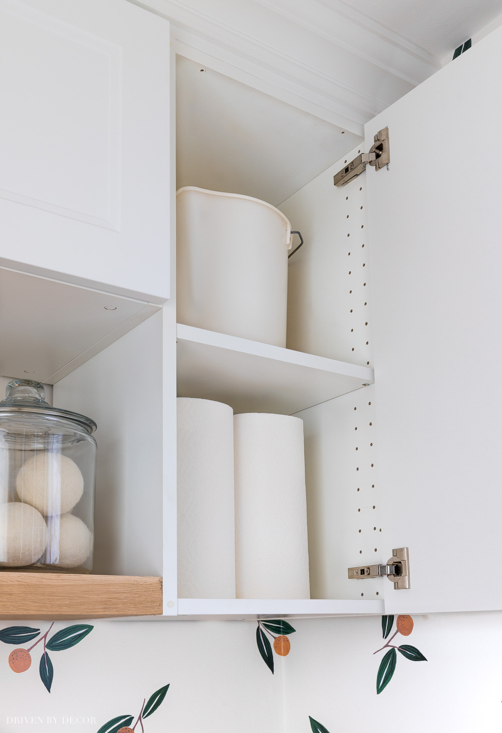 Inside our Ikea Axstad & Sektion laundry room cabinets