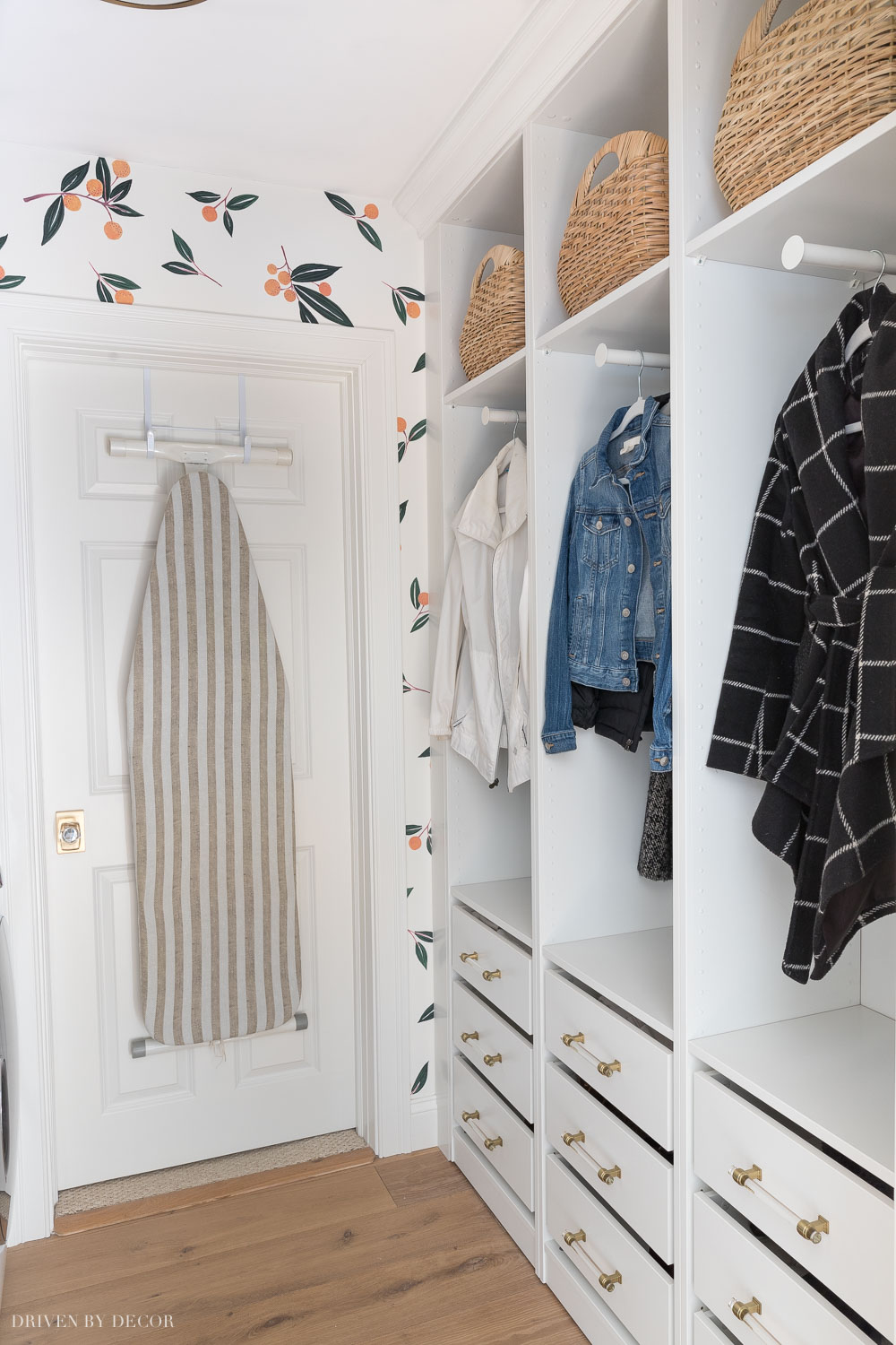 Ikea Pax wardrobes installed in our laundry room to create storage for shoes and coats!