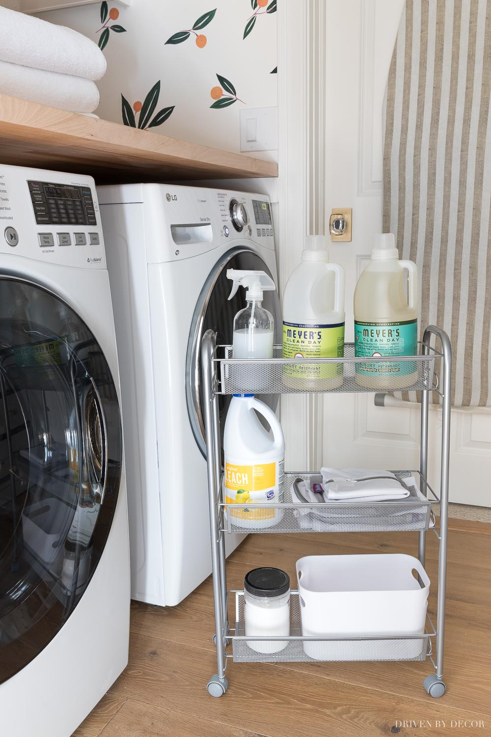 A rolling rack between your washer and dryer is a simple way to add extra storage in a small space!