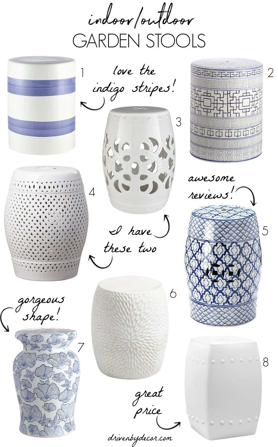 Favorite garden stools for use inside and out!