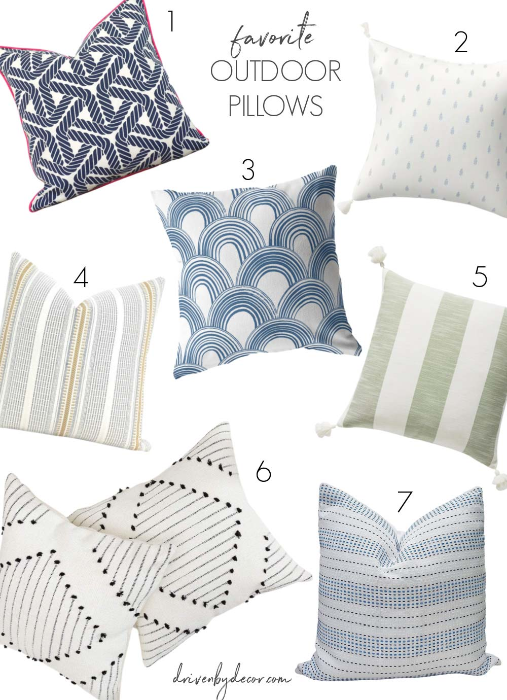 Love these outdoor pillow covers - a favorite outdoor decor idea!