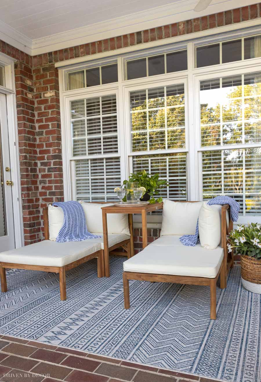 One outdoor decor idea is to use an outdoor rug to define this space!