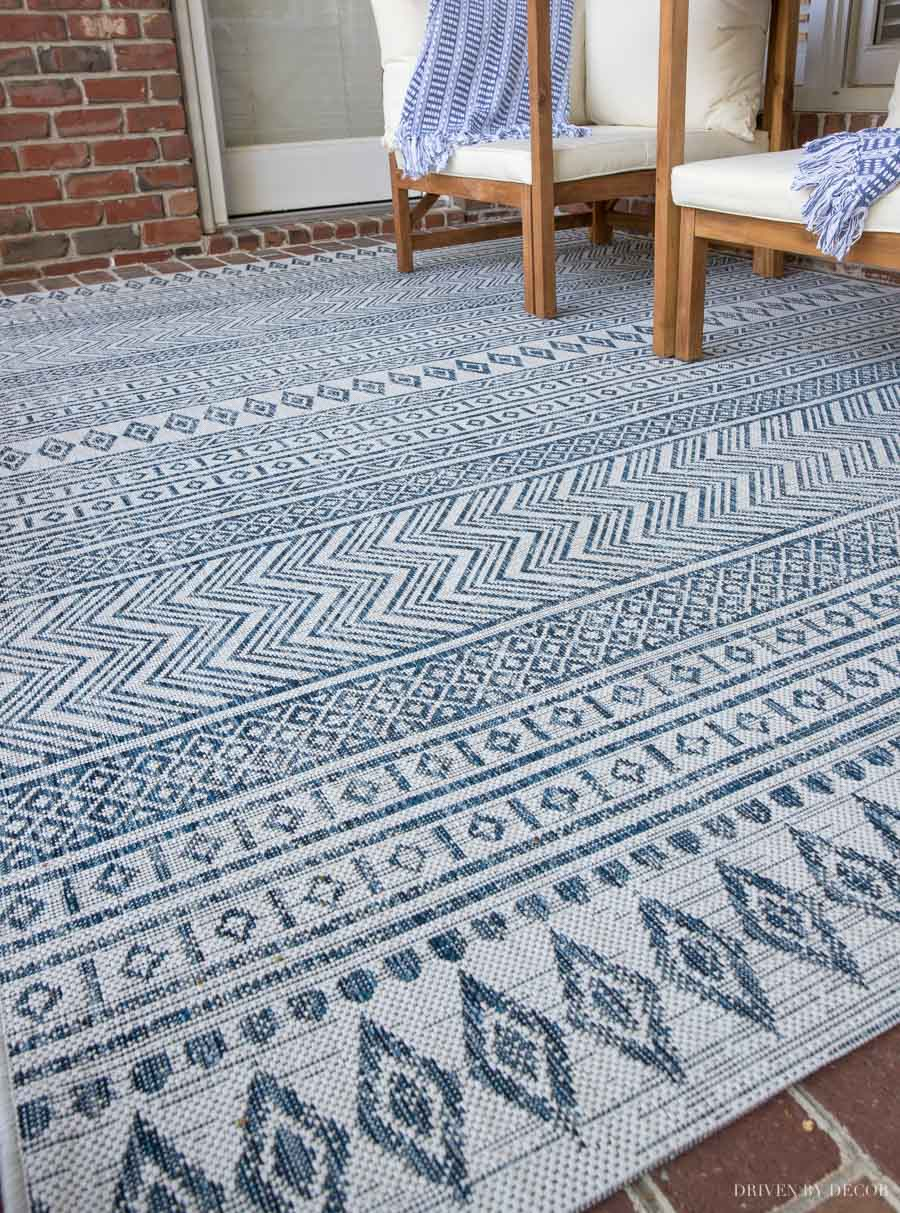 Patterned outdoor rug - love this idea for porch or patio decor!