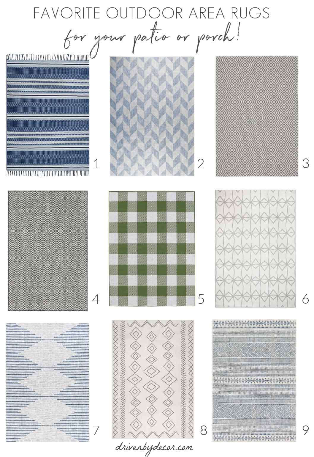 Outdoor rugs are one of my favorite outdoor decor pieces!