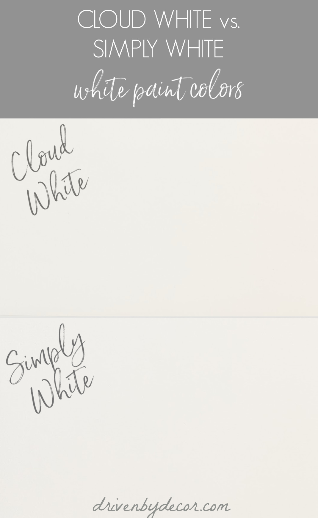 Benjamin Moore Cloud White vs. Simply White paint colors