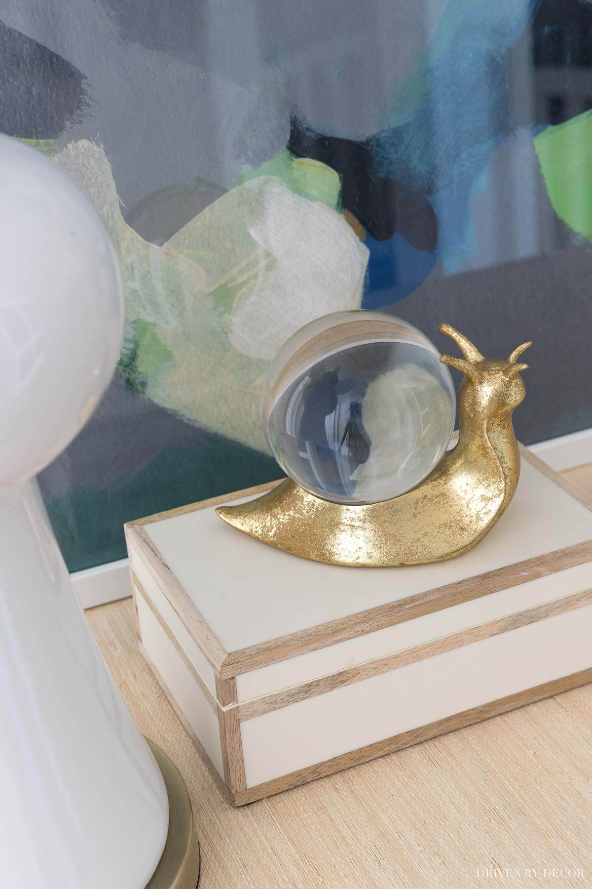 This decorative brass snail on my entryway console is one of my favorite accessories!
