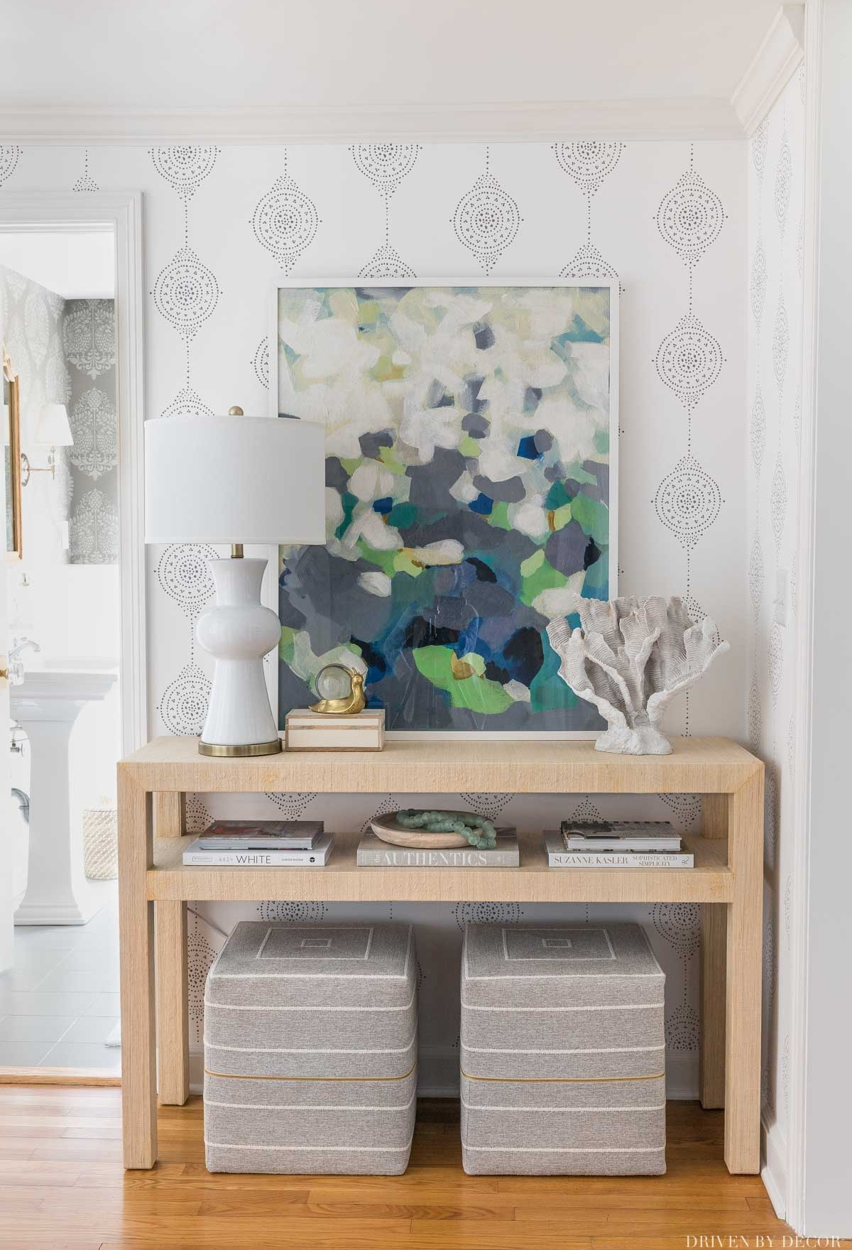 So happy with how my entryway came together with wallpaper, console table, and accessories