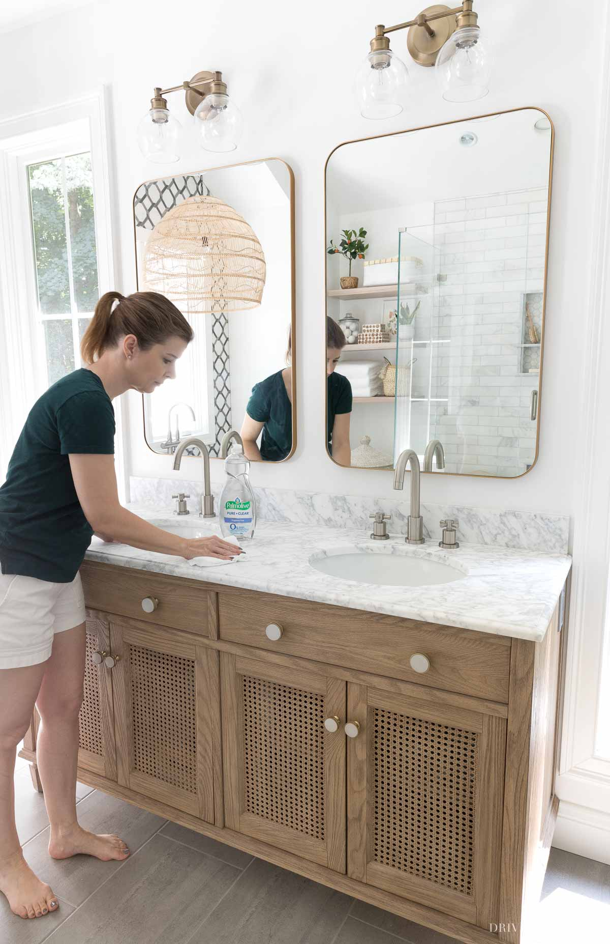 Applying a sealer to our bathroom marble