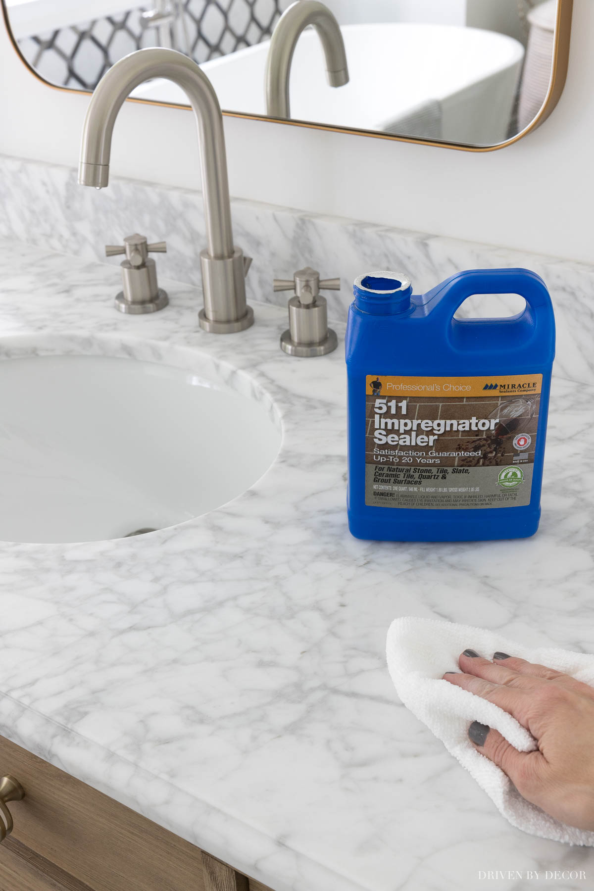 Keeping marble in the bathroom cleans means you have to seal it - this sealer works best!