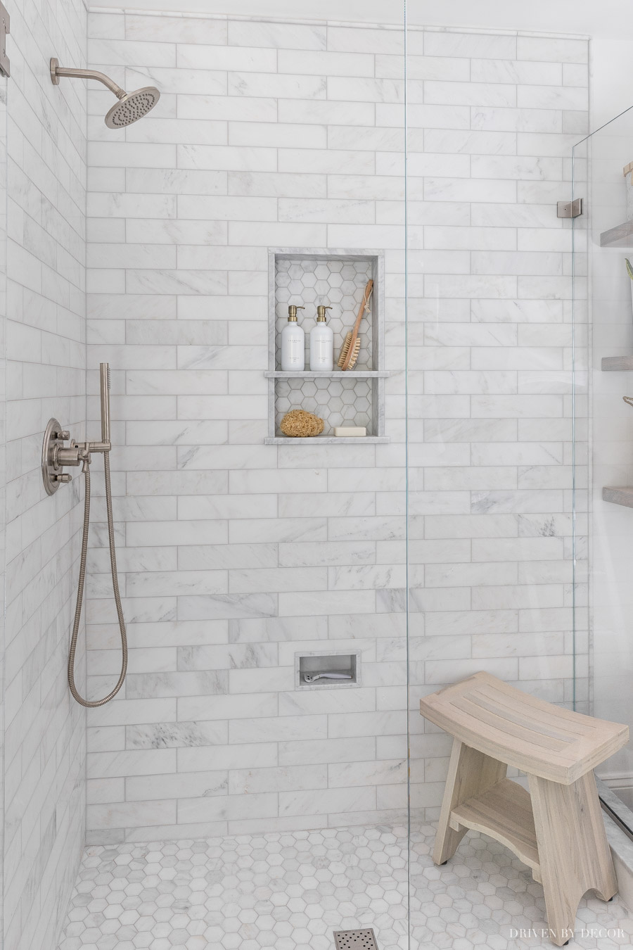 I LOVE the marble in our bathroom shower!