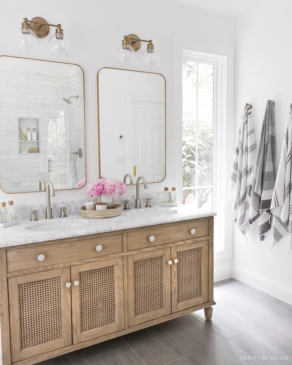 Love the marble on this bathroom vanity top!