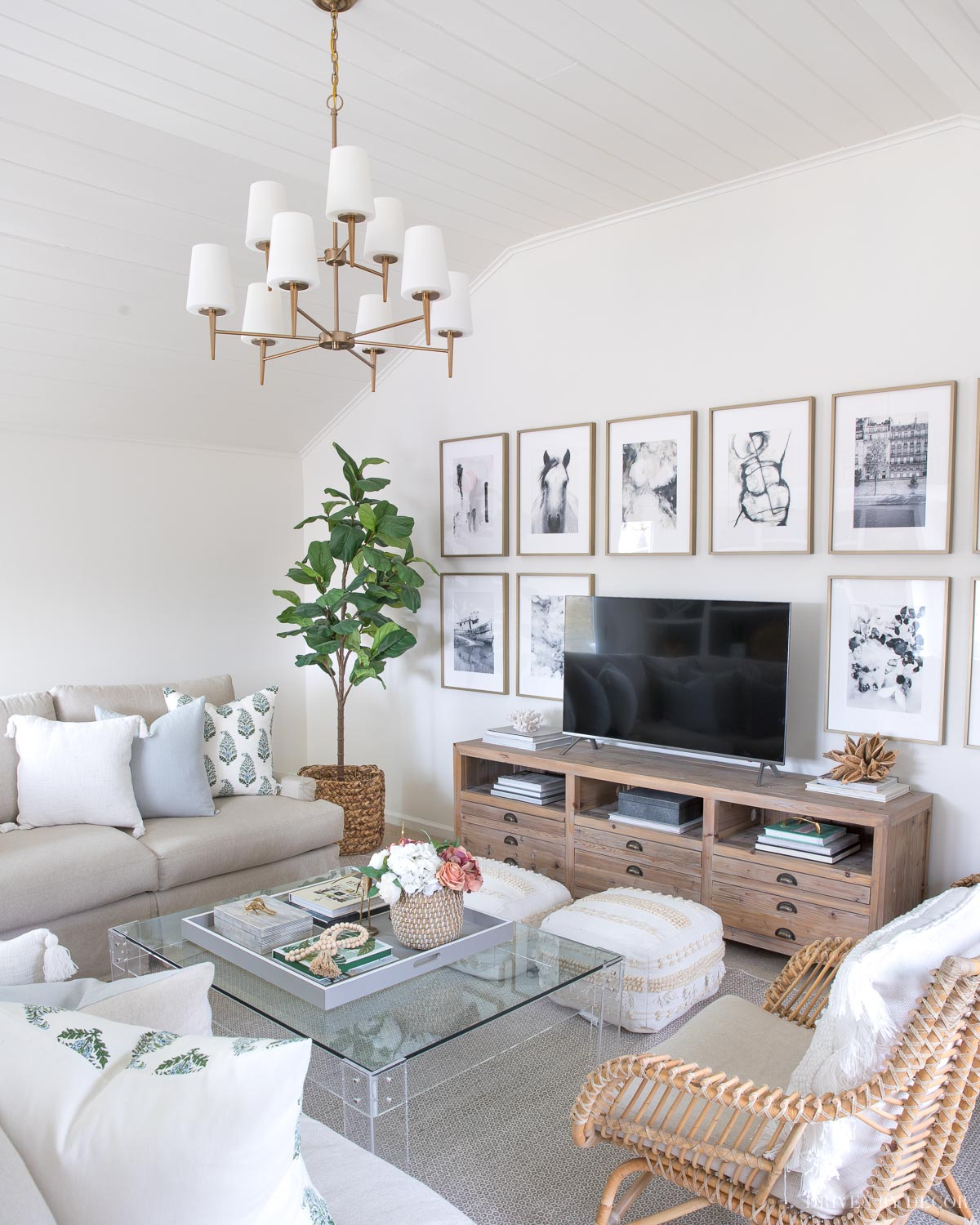 Our family room painted in Benjamin Moore Cloud White paint color