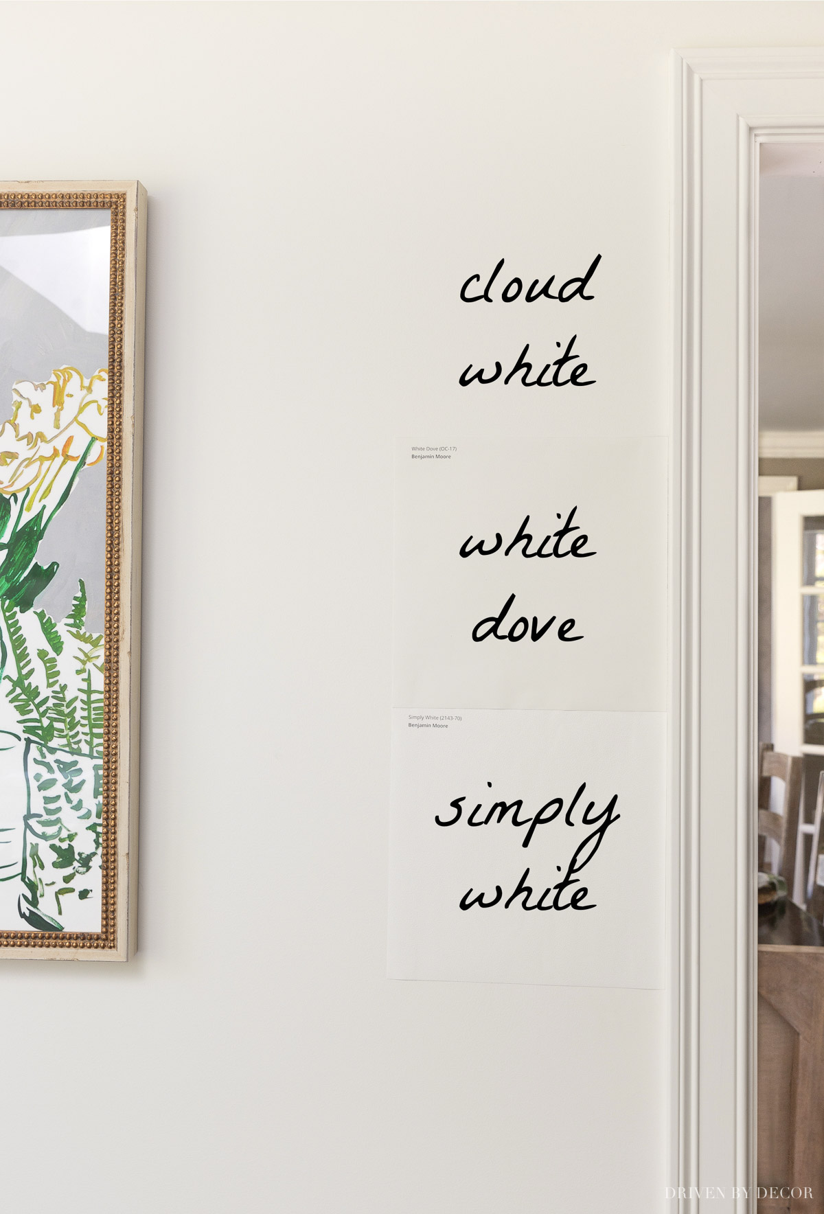 Benjamin Moore Cloud White vs. White Dove and Simply White paint colors