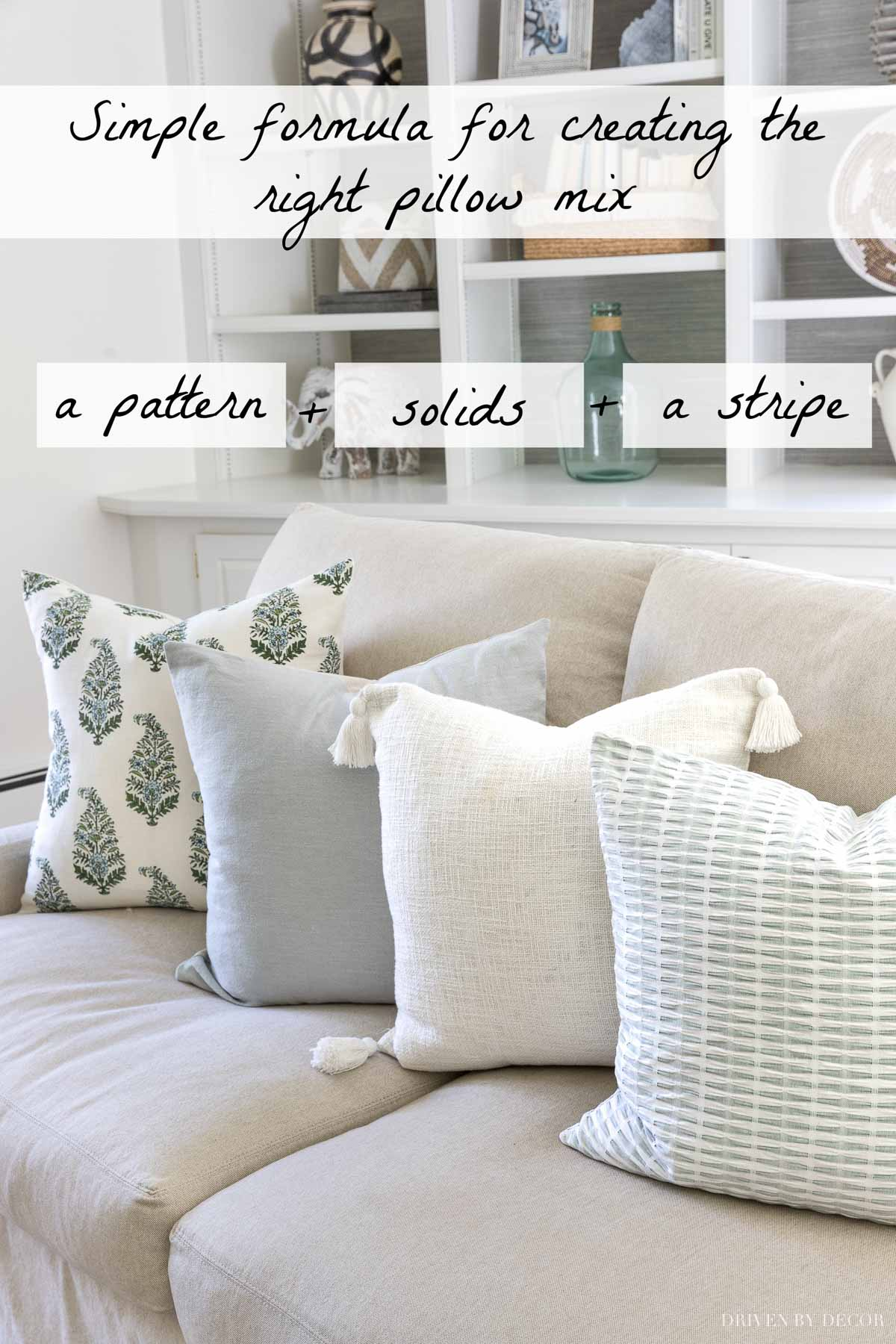 A simple formula for mixing and matching pillow covers!
