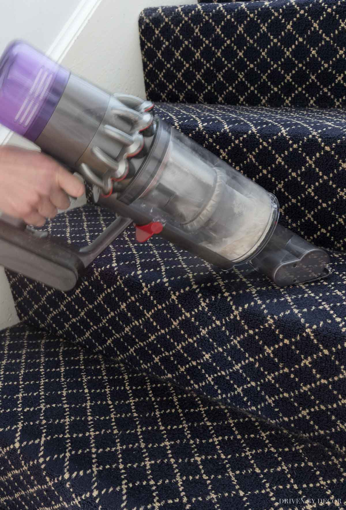 Absolutely love using my Dyson cordless handvac with this attachment for cleaning stairs!