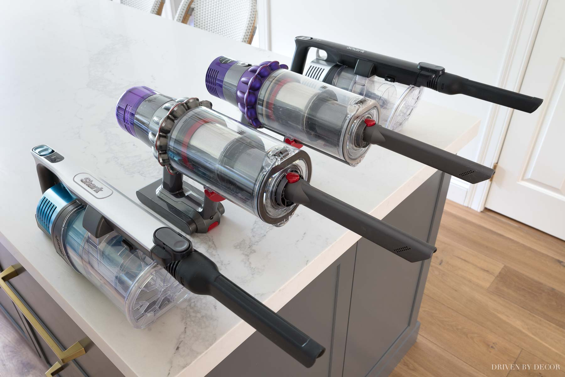Shark vs. Dyson cordless vacuums - a review of how they compare including handvac functions!