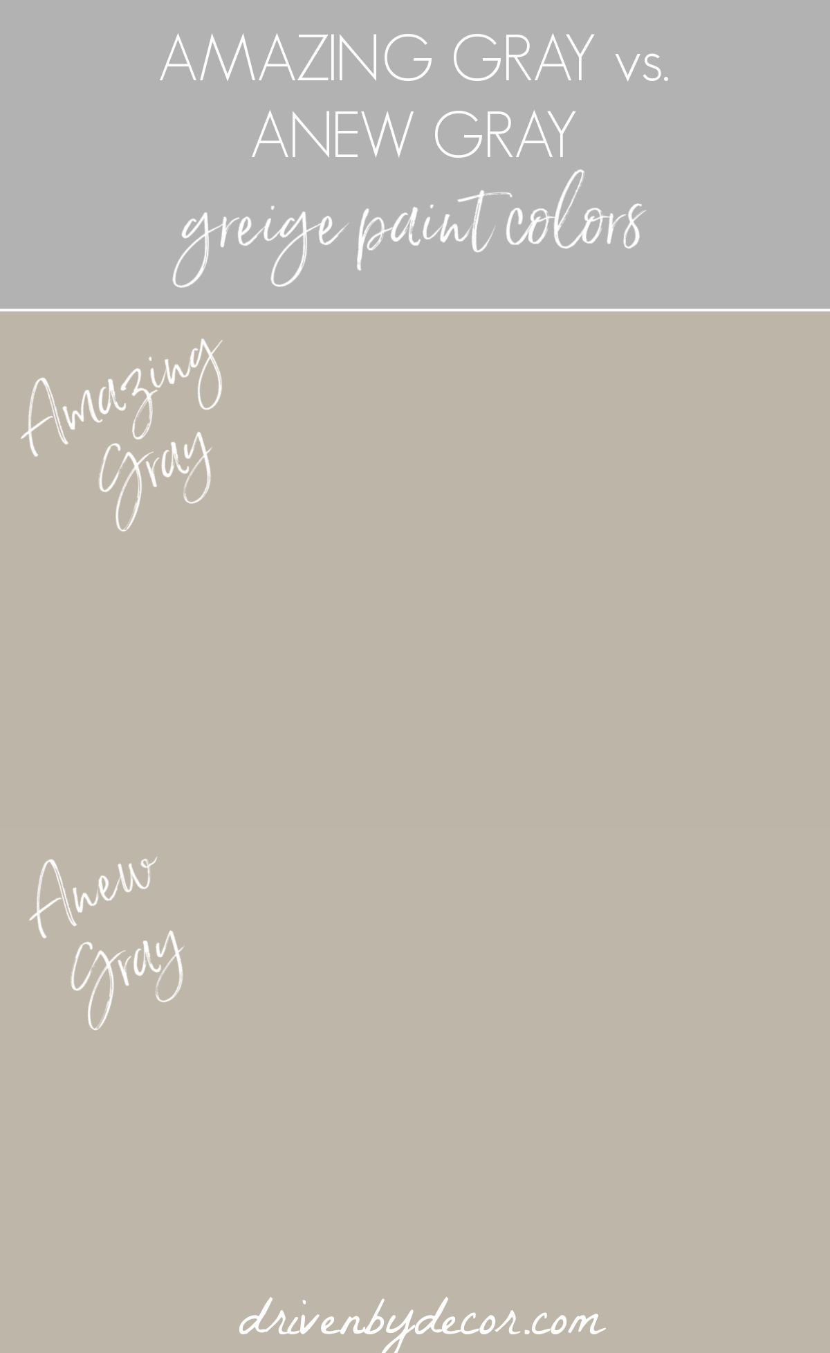 Amazing Gray vs. Anew Gray greige paint colors
