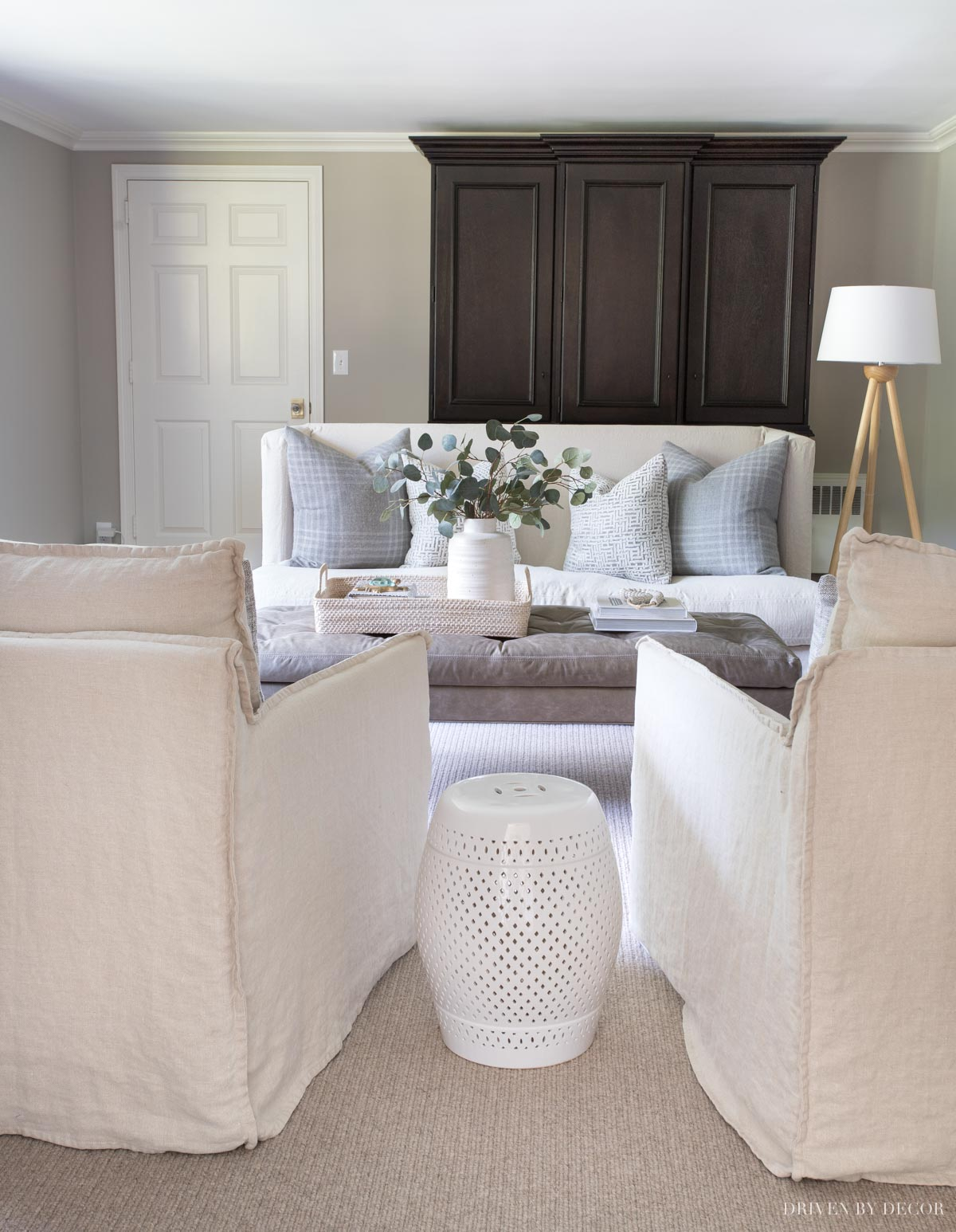 Our living room painted in Sherwin Williams Anew Gray