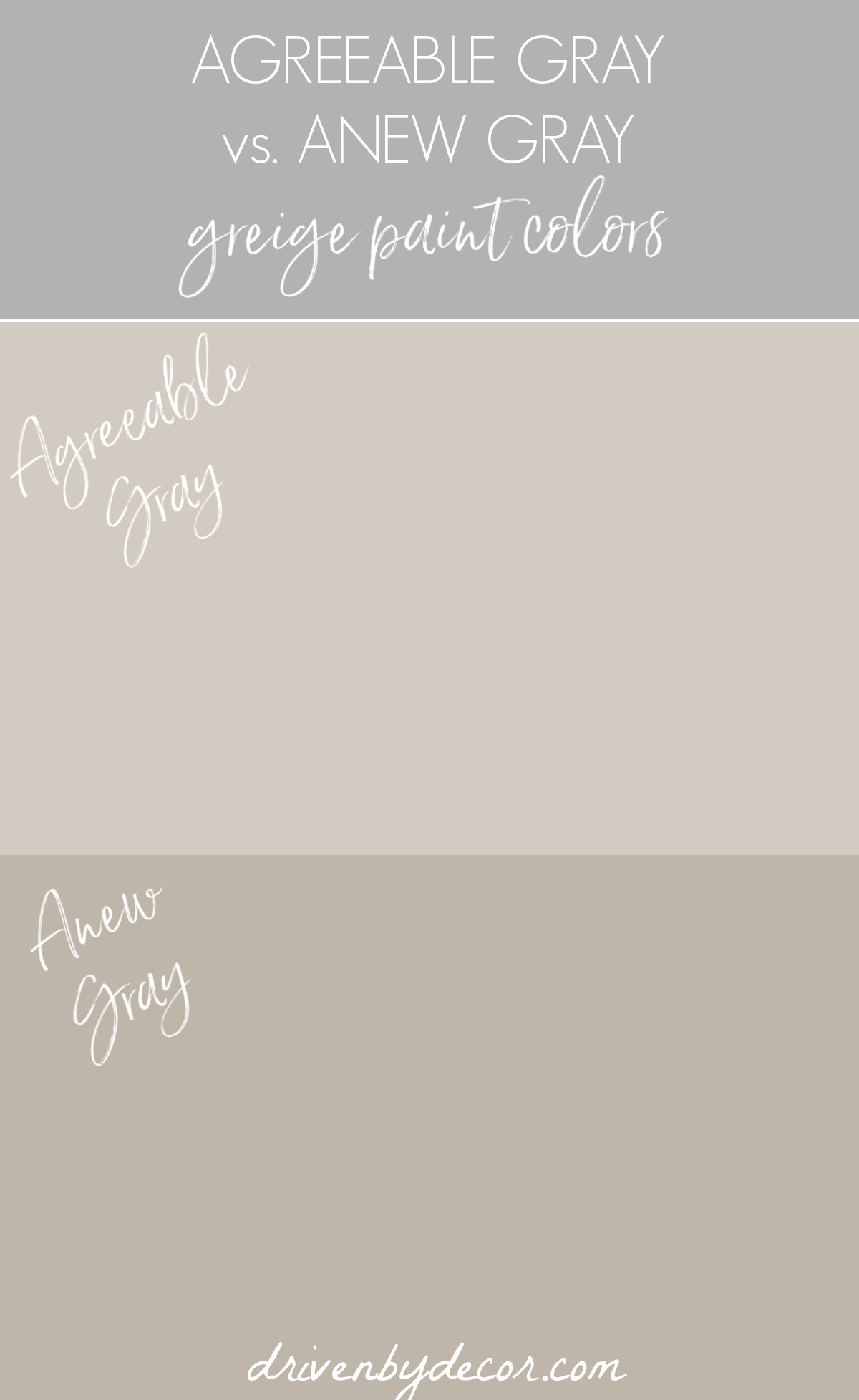 Anew Gray vs. Agreeable Gray greige paint colors