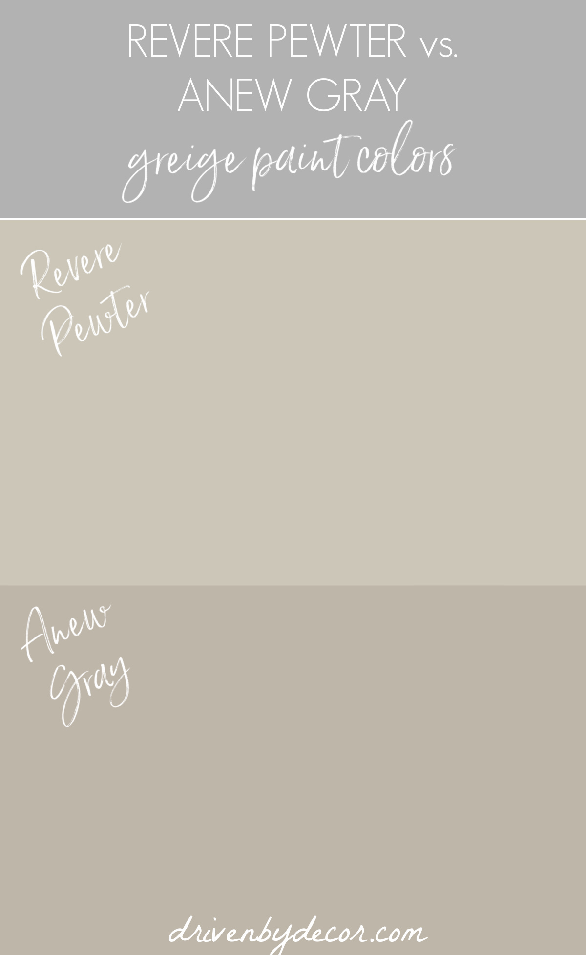Anew Gray vs. Revere Pewter greige paint colors