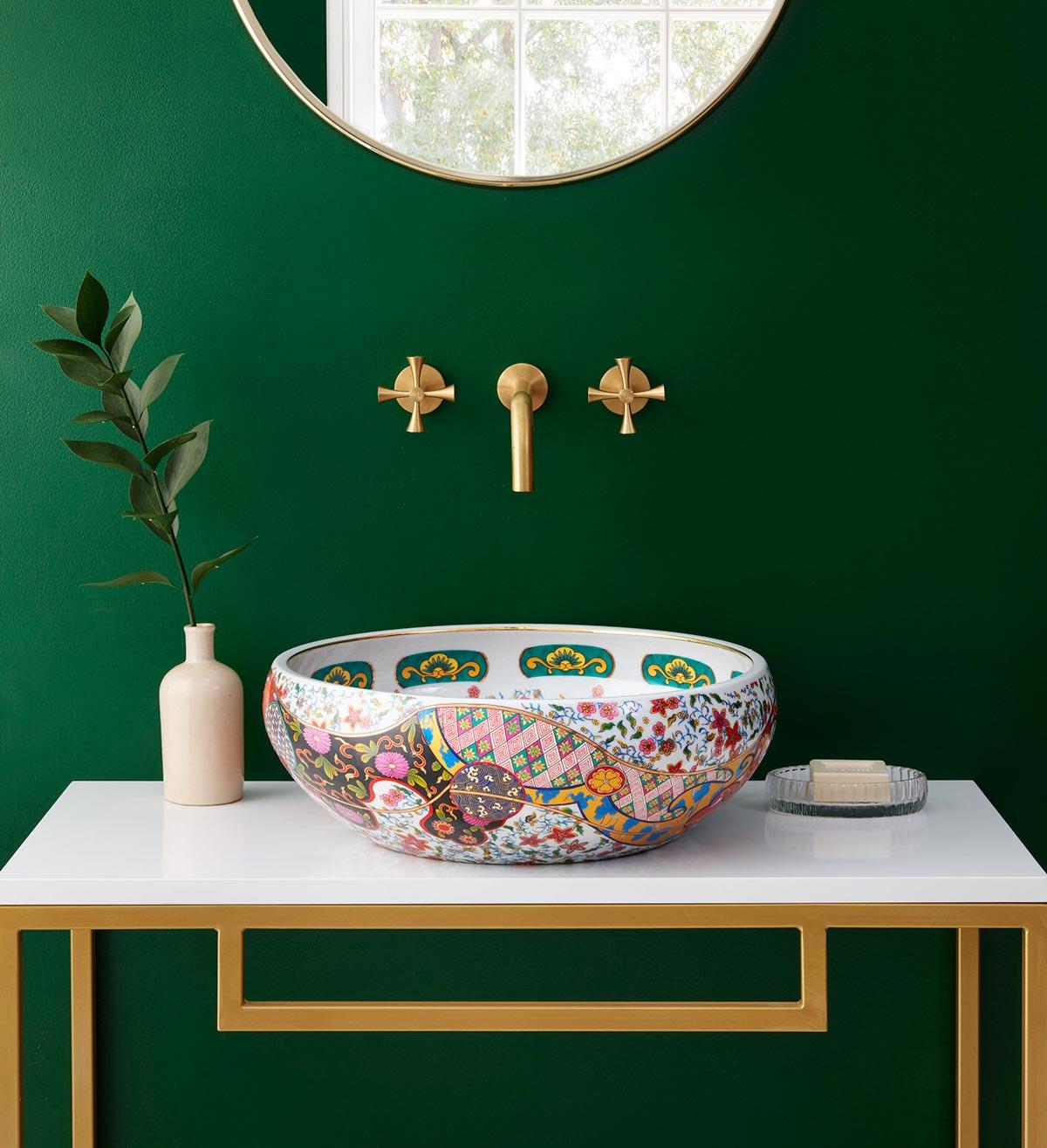 Colorful porcelain sink basin