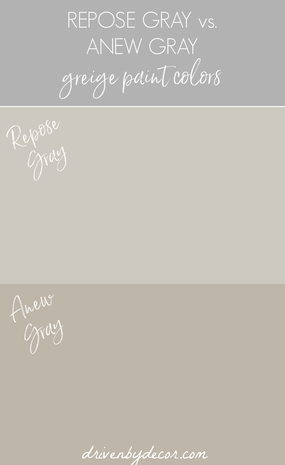 Repose Gray vs. Anew Gray greige paint colors