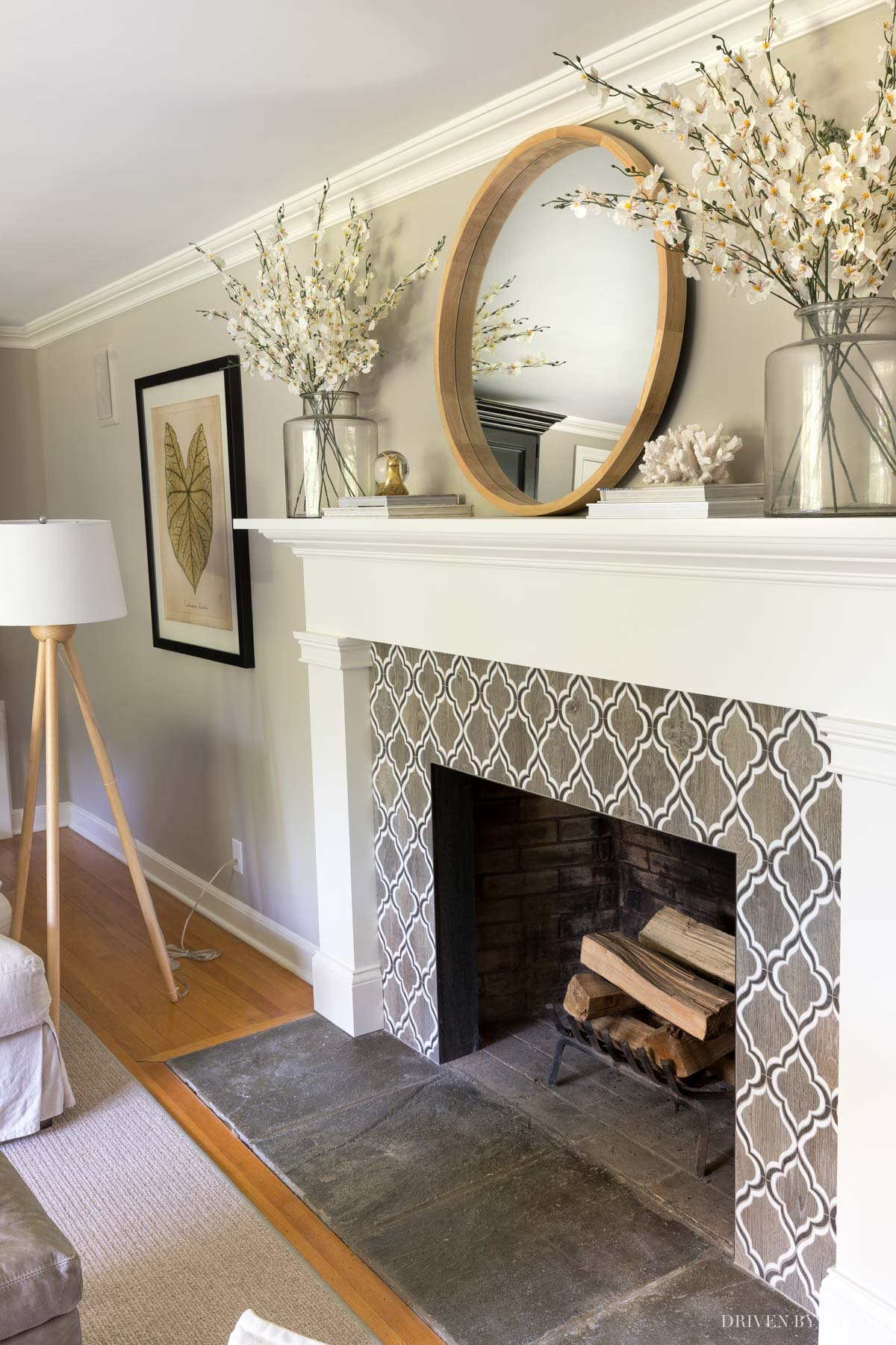 Our living room fireplace with Anew Gray wall color