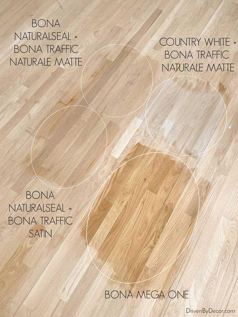 Choosing a hardwood floor stain - Bona NaturalSeal vs. Bona Mega vs. Country White