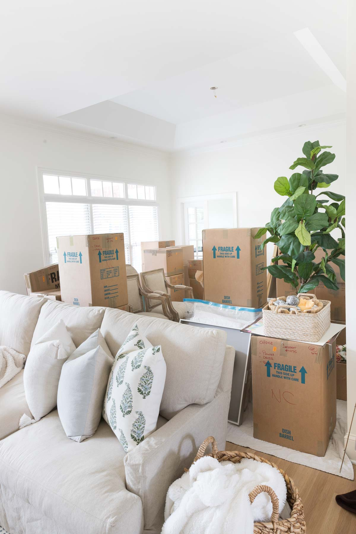 Moving boxes in our dining room!
