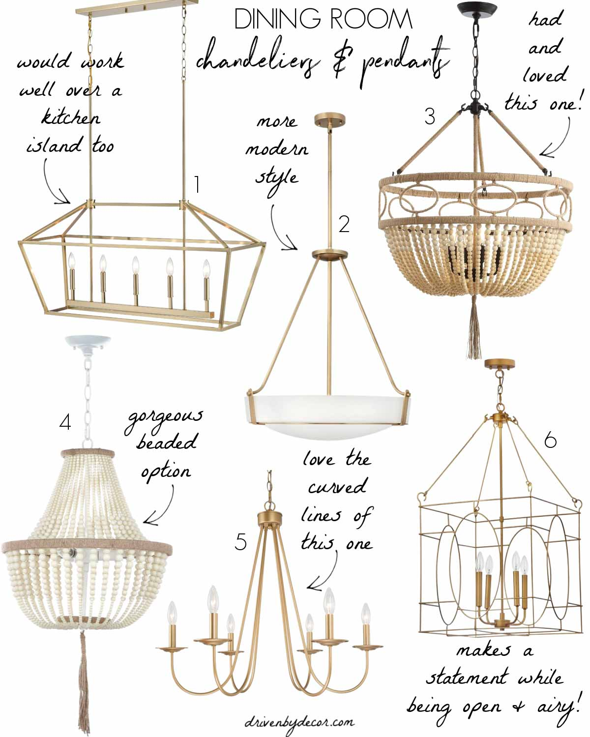 Favorite dining room chandeliers and pendants!