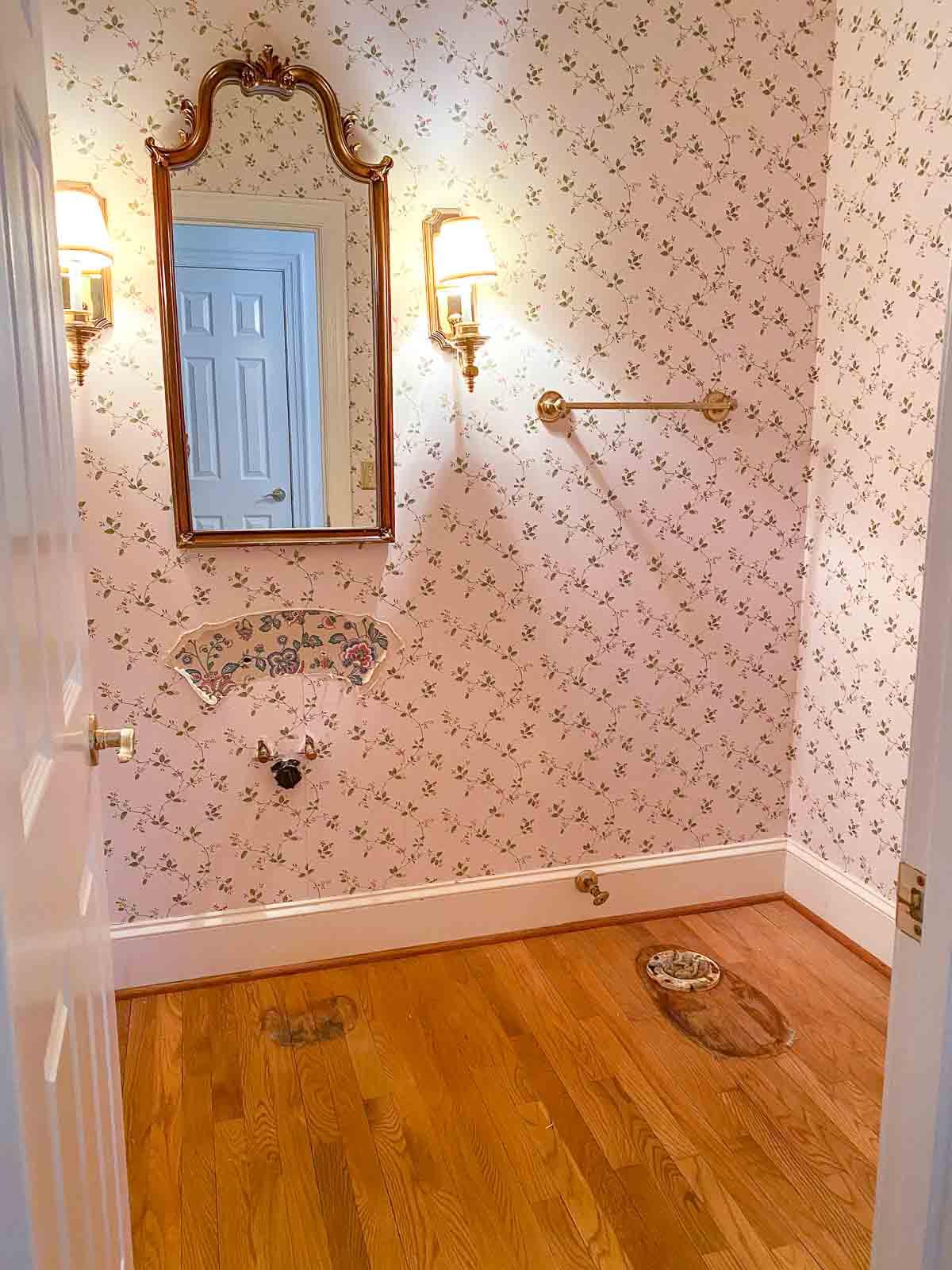 Bathroom prep for our hardwood floor refinishing