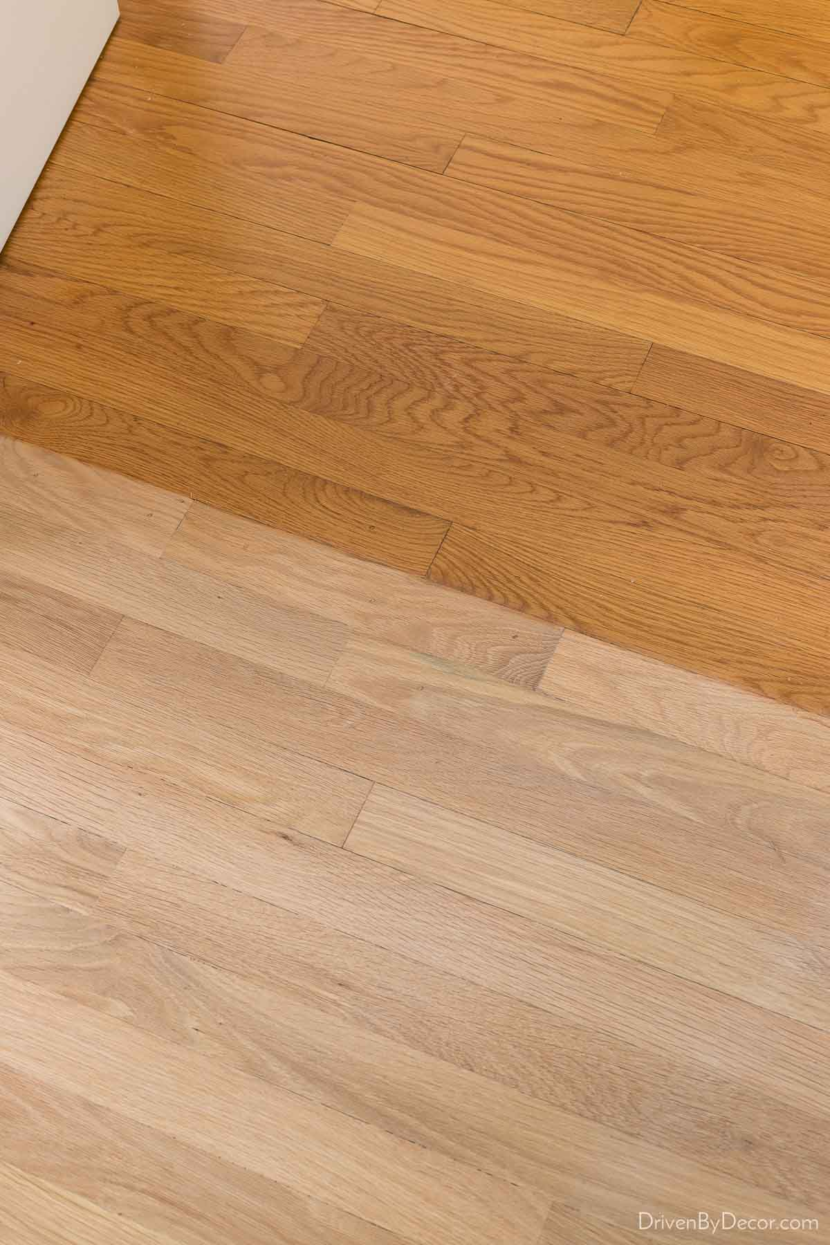 """Our hardwood floor refinishing """"before"""" and """"after"""""""