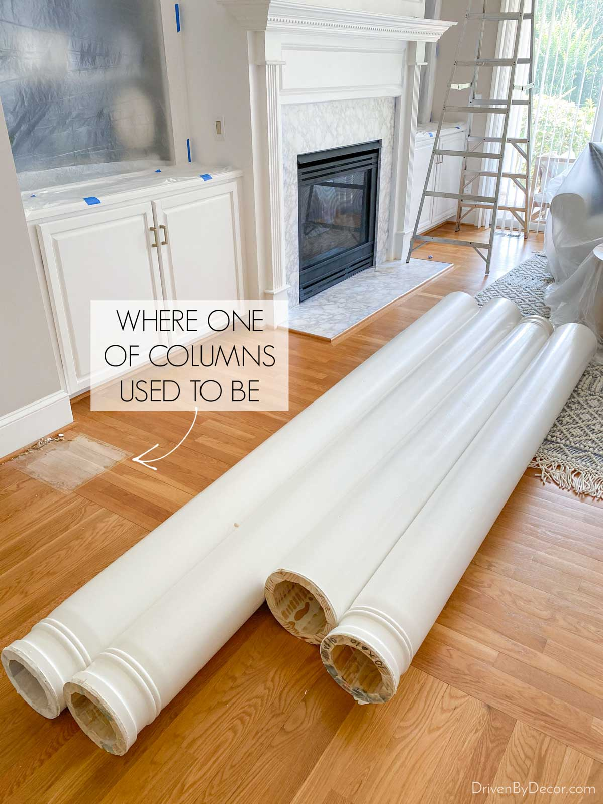 Removing our decorative columns prior to hardwood floor refinishing