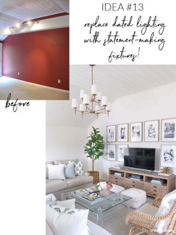 One of my favorite home remodeling ideas is to replace dated lighting with statement making fixtures!