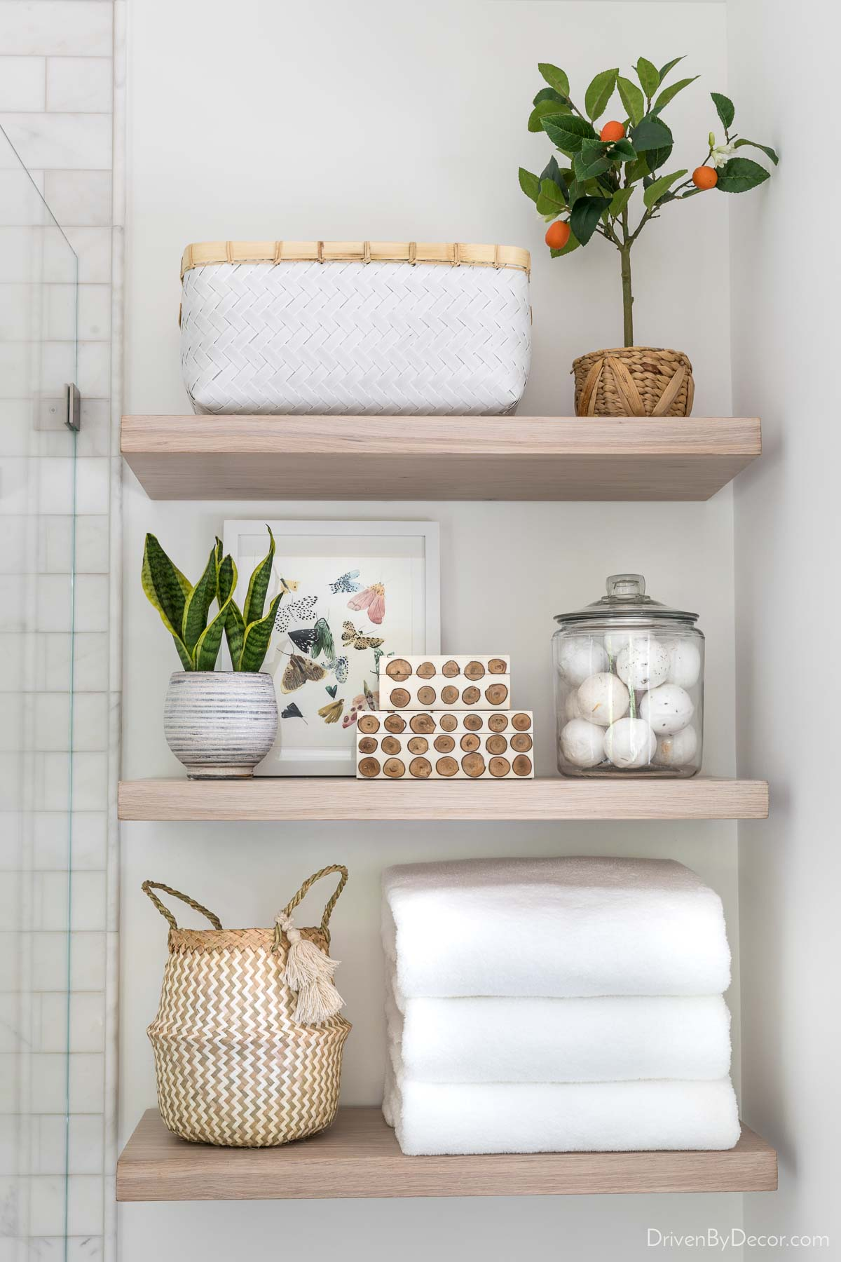 A favorite home remodeling idea is adding floating shelves for stylish storage!