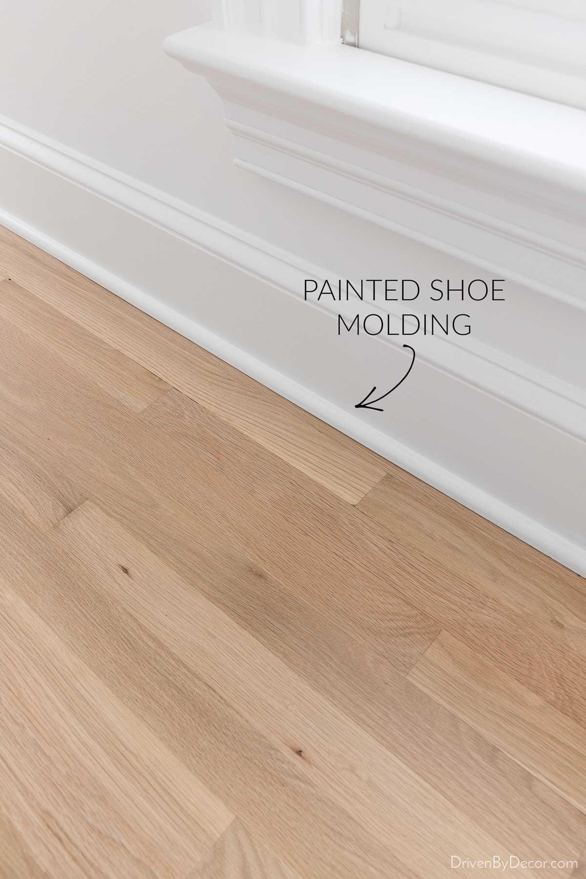 New shoe molding painted white