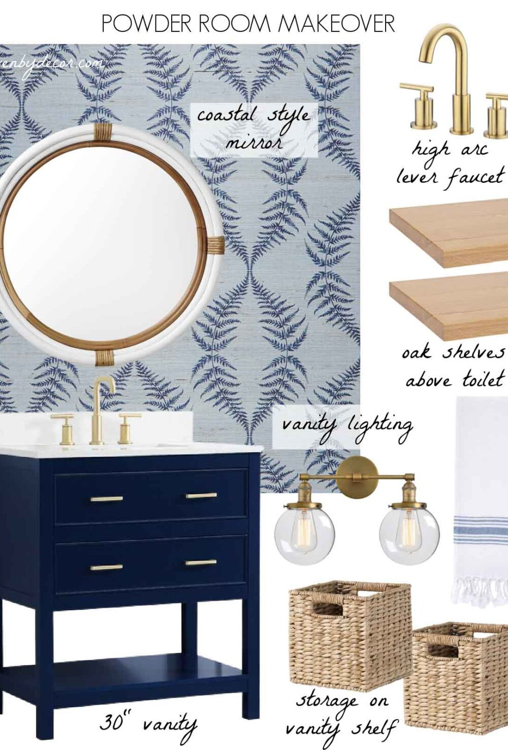 Our powder room design including our vanity, mirror, faucet, & more
