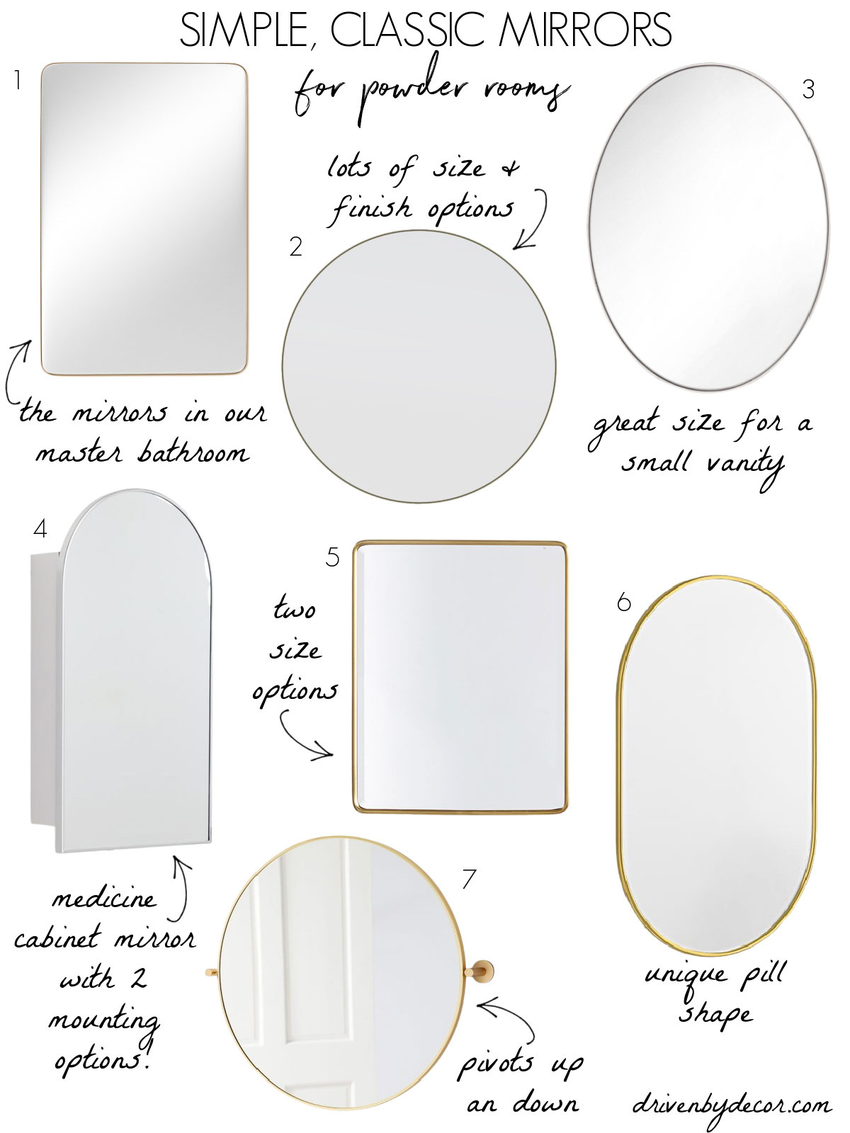 Powder room mirror options that are simple and classic!