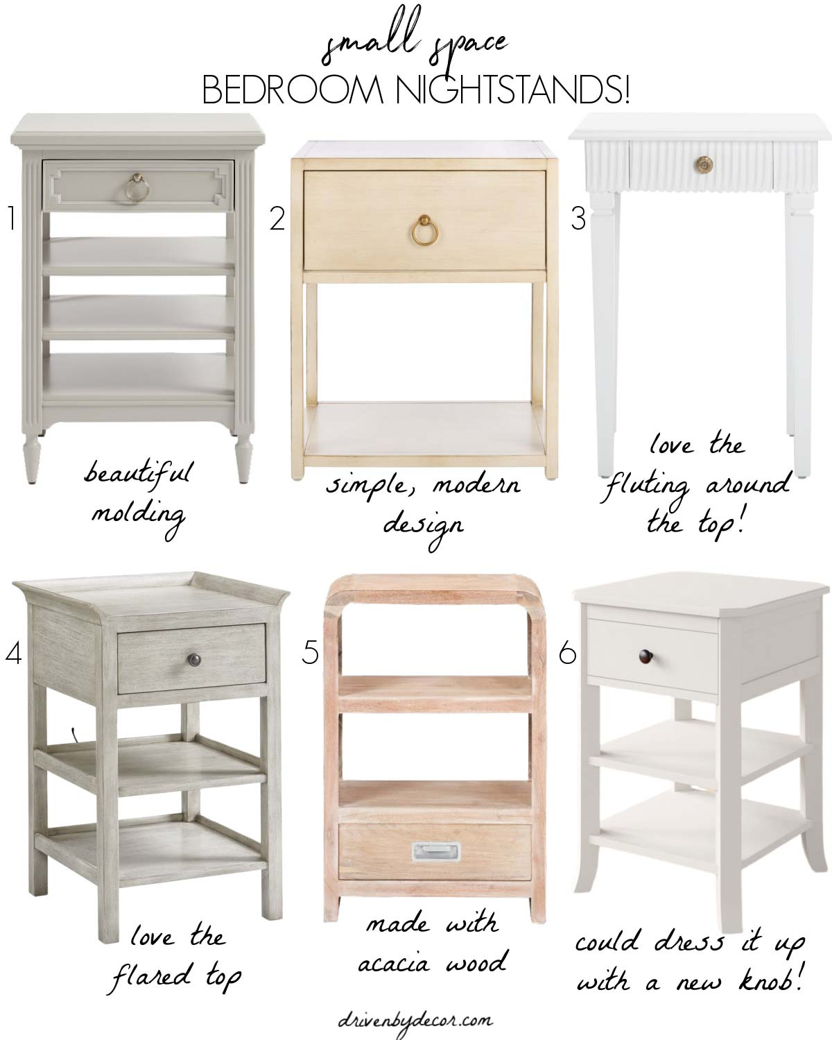 Favorite narrow, small space nightstands!