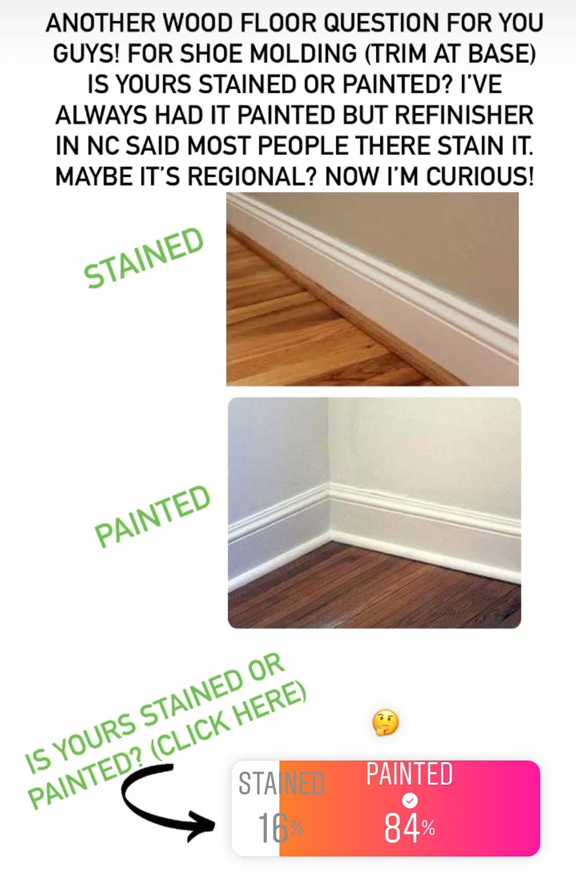 Stained vs. painted shoe molding - 84% prefer painted!