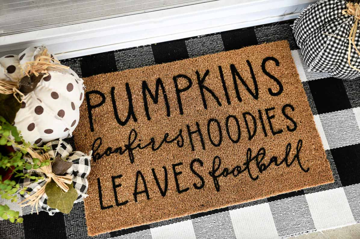 Fall doormat with the cutest saying!